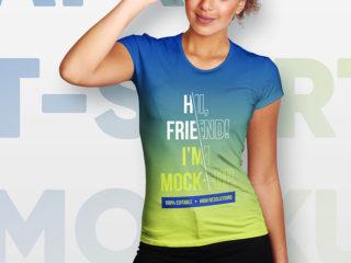 Female T-Shirt and Baseball Cap Mockup