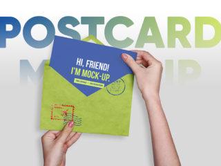 Postcard, Greeting, Invitation with Envelope Mockups