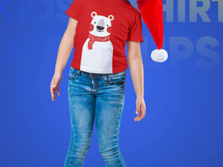 Christmas Kids Girl T-Shirt Mockups. Vol 2